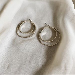 Vintage Silver Double Hoop Ribbed Smooth Earrings